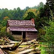 Appalachian Cabin With Fence Poster
