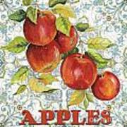 Apples On Damask Poster