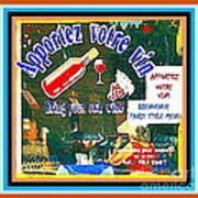 Apportez  Votre Vin Vintage French Bistro Signage Paris Style Menu Poster Decor Painting Cspandau Poster