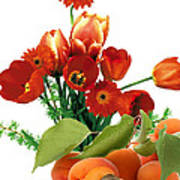 Apricots And Red Roses Poster