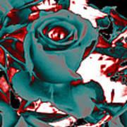 Aqua Rose - Abstract Poster