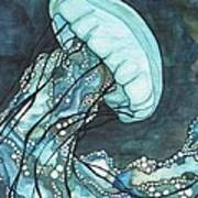 Aqua Sea Nettle Poster