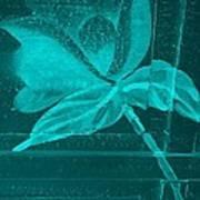 Aquamarine Negative Wood Flower Poster