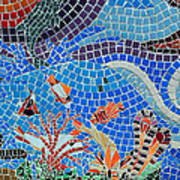 Aquatic Mosaic Tile Art Poster