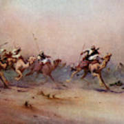 Arab Riders Spur Their Camels Poster