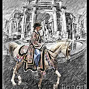 Arabian Horse Black And White Poster