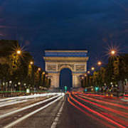 Arch De Triomphe And Avenue Des Champs Elysees Paris France Poster