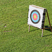 Archery Round Target On A Stand Poster