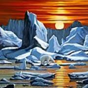 Arctic Sunset Polar Bear Poster