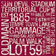 Arizona State College Colors Subway Art Poster