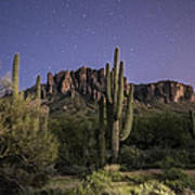 Arizona Superstition Mountains Night Poster by Michael J Bauer