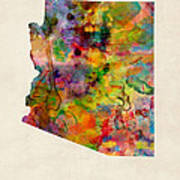 Arizona Watercolor Map Poster by Michael Tompsett