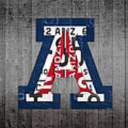 Arizona Wildcats College Sports Team Retro Vintage Recycled License Plate Art Poster