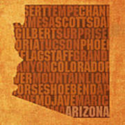 Arizona Word Art State Map On Canvas Poster