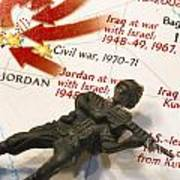 Army Man Lying On Middle East Conflicts Map Poster