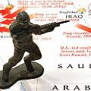 Army Man Standing On Middle East Conflicts Map Poster
