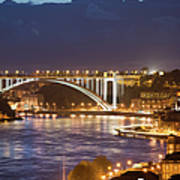 Arrabida Bridge At Night In Porto And Gaia Poster