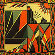 Art Deco In Orange Poster