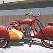Art Deco Motorcycle With Sidecar Poster