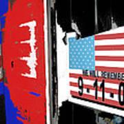Art Homage Jasper Johns American Flag 9-11-01 Memorial Collage Barber Shop Eloy Az 2004-2012 Poster