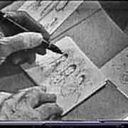 Art Homage Ted Degrazia Pen Ink Drawing On Camera Kvoa Tv Studio January 1966  Poster