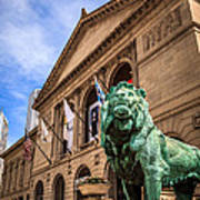 Art Institute Of Chicago Lion Statue Poster by Paul Velgos