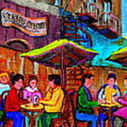 Art Of Montreal Enjoying A Pint At Ye Olde Orchard Irish Pub And Grill Monkland Village Cafe Scenes Poster