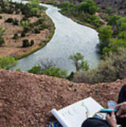 Artist At Rio Chama Overlook 1 Abiquiu Nm Poster