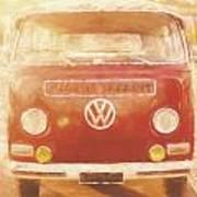 Artistic Digital Drawing Of A Vw Combie Campervan Poster