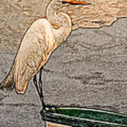 Artistic Egret And Boat Poster
