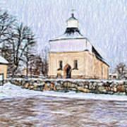 Artistic Presentation Of #svinnegarns #kyrka #church Of #svinnegarn March 2014 Viewed From The Parki Poster
