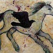 As The Crow Flies Impasto Horse Poster