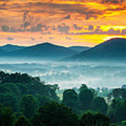 Asheville Nc Blue Ridge Mountains Sunset - Welcome To Asheville Poster by Dave Allen