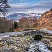 Ashness Bridge And Snow Capped Skiddaw Poster