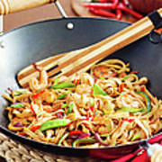 Asian Noodle In Wok Poster