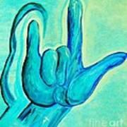 Asl I Love You Blue Poster
