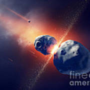 Asteroids Collide And Explode  In Space Poster