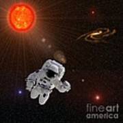 Astronaut And Sun With Stars Poster