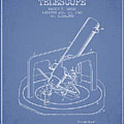 Astronomical Telescope Patent From 1943 - Light Blue Poster