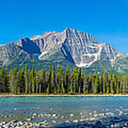 Athabasca River With Mountains Poster