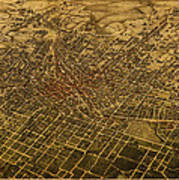 Atlanta Georgia City Schematic Street Map 1892 On Recovered Worn Parchment Paper Poster