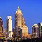 Atlanta Skyline At Dusk Midtown Color Panorama Poster