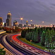 Atlanta Sundown Night Lights Art Poster