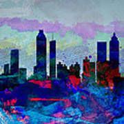 Atlanta Watercolor Skyline Poster