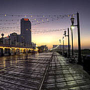 Atlantic City Boardwalk In The Morning Poster