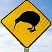 Attention Kiwi Crossing Road Sign Poster
