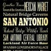 Attractions And Famous Places Of San Antonio Texas Poster