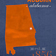 Auburn University Tigers Auburn Alabama College Town State Map Poster Series No 016 Poster