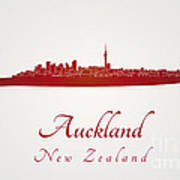 Auckland Skyline In Red Poster