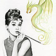 Audrey And Her Magic Dragon Poster by Olga Shvartsur